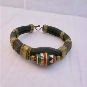 Jewelry - Vintage Mexican Leather Brass Bracelet Wooden Bead